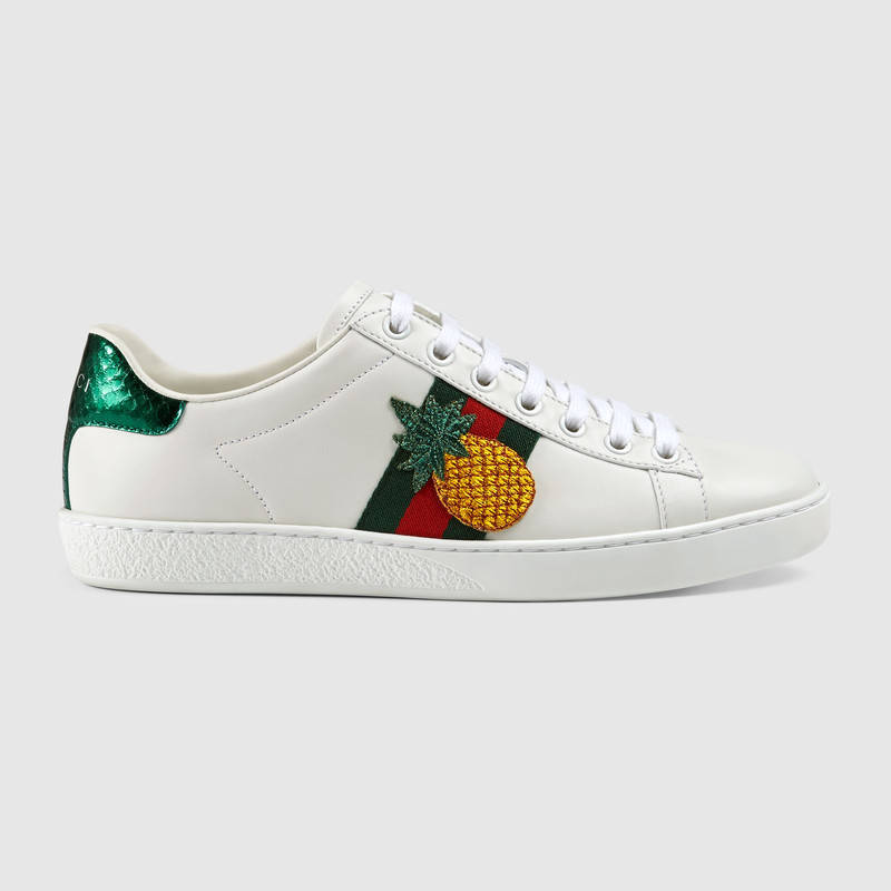 c7c3589d8c1 Gucci New Ace Pineapple-Embellished Leather Trainers In White