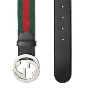 标志性Gucci带扣织带腰带