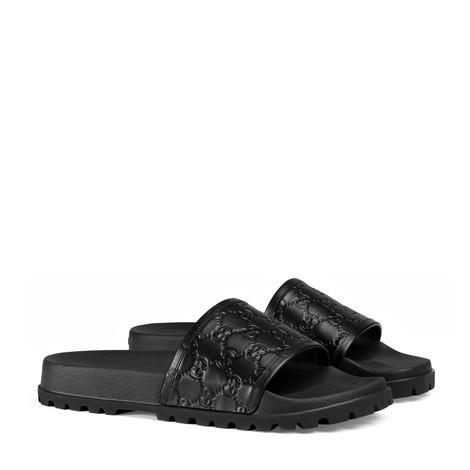 Gucci Signature皮革拖鞋