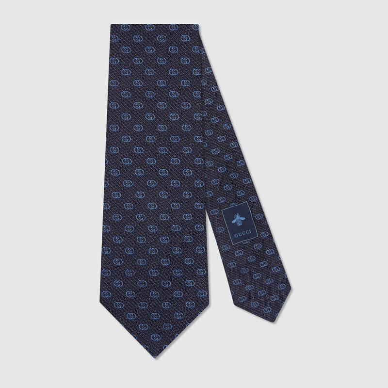 Silk Tie With Gg Pattern in Blue Gg Silk