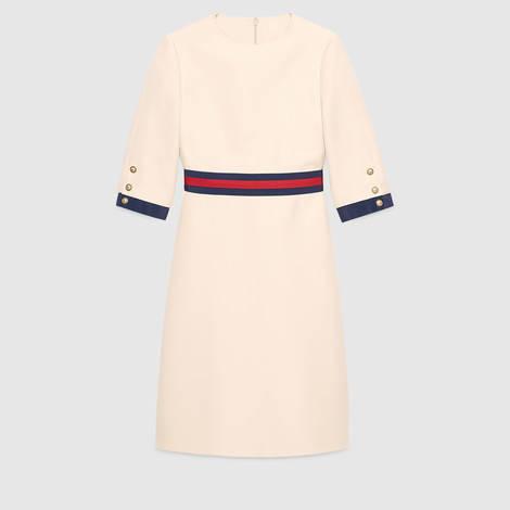 饰条纹织带羊毛真丝连衣裙