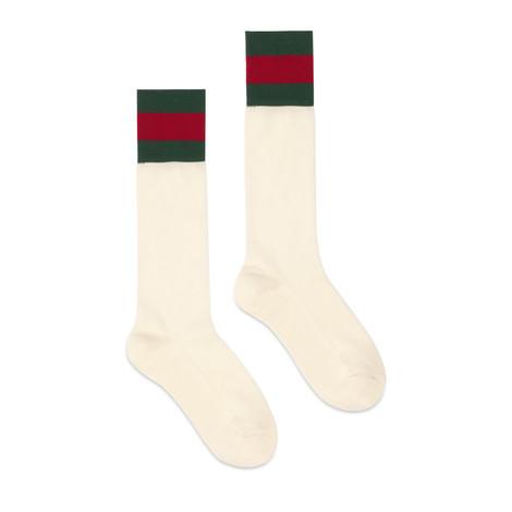 饰条纹织带棉质短袜