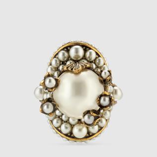 玻璃珍珠花朵戒指