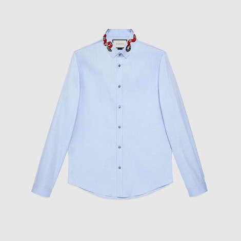 珊瑚蛇刺绣牛津布杜克衬衫