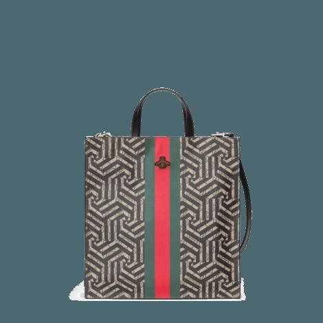 GG Caleido系列饰条纹织带柔软质感购物袋