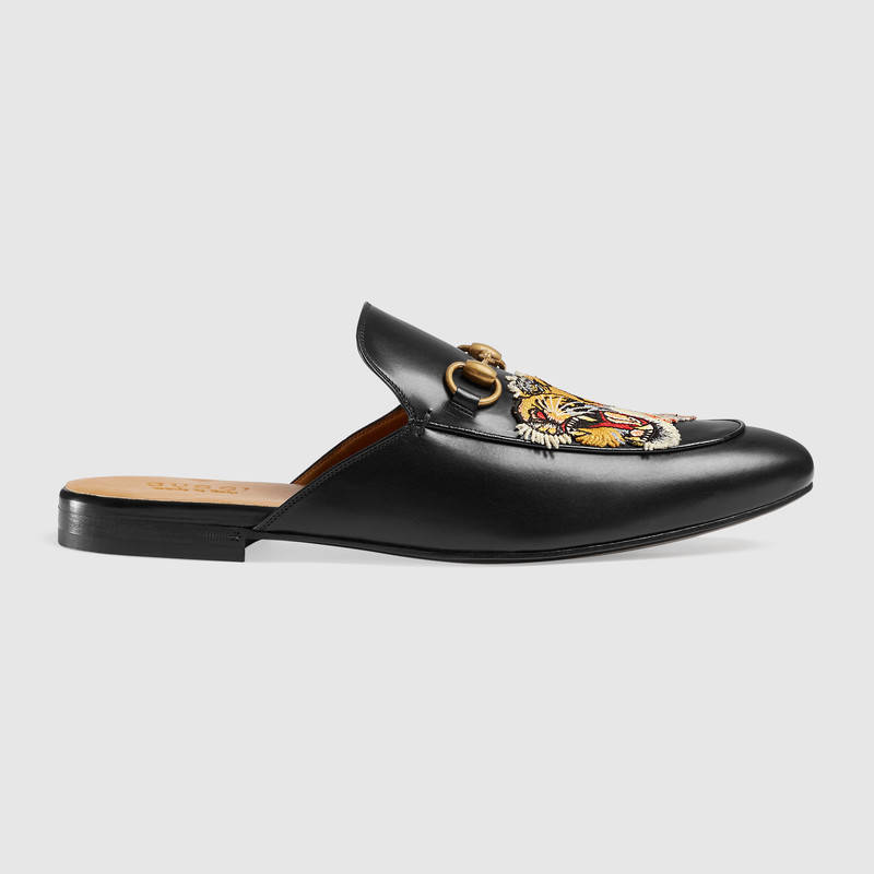 Gucci Leathers Princetown embroidered slipper