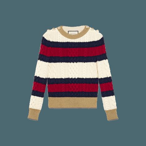 条纹羊毛针织上衣