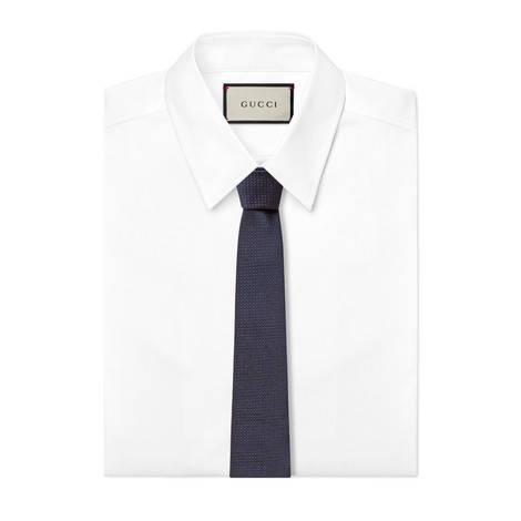蜜蜂织带装饰真丝领带