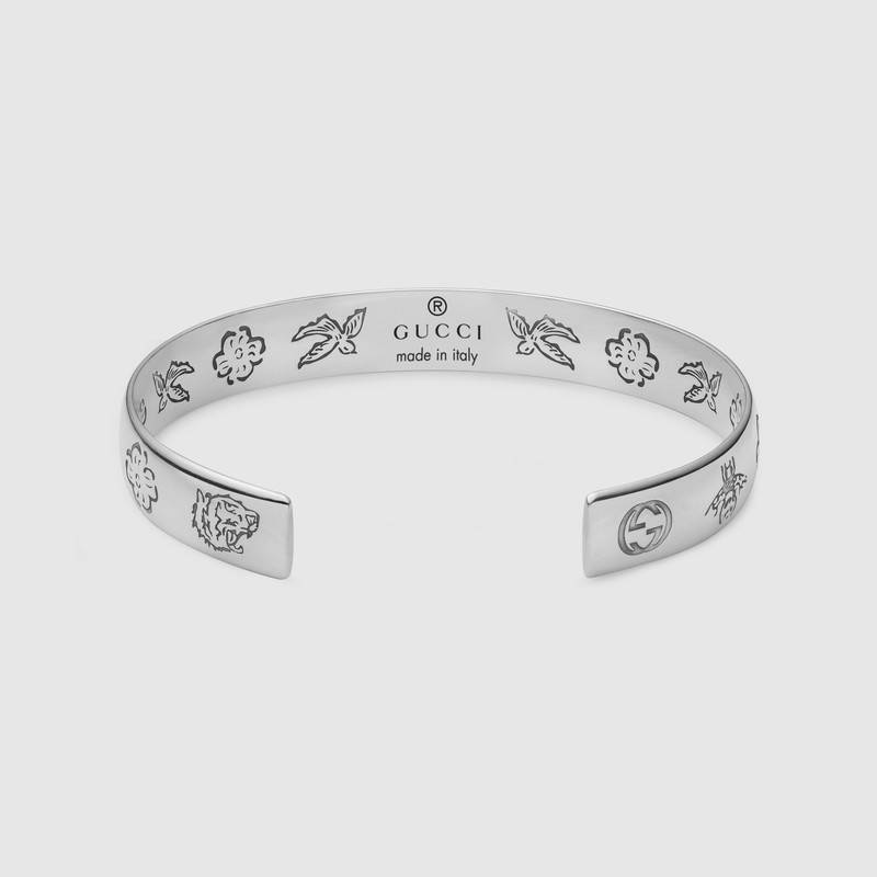e322aff86 Gucci Sterling Silver Blind For Love Engraved Wide Cuff | ModeSens
