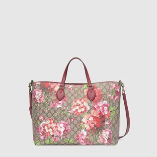 柔软GG Blooms天竺葵印花购物袋