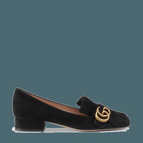 GG Marmont系列麂皮低跟鞋