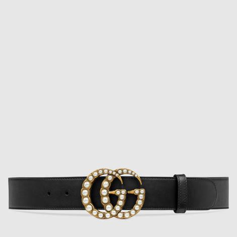 珍珠双G带扣皮革腰带
