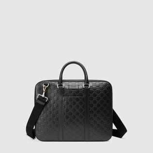 Gucci Signature真皮公文包