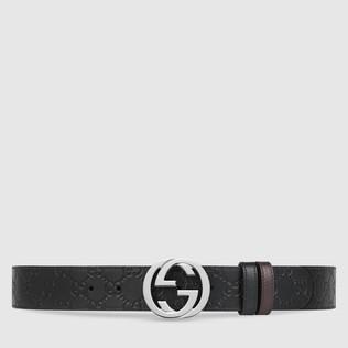 Gucci Signature真皮双面腰带