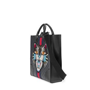 GG高级人造革托特包饰有愤怒猫刺绣贴花
