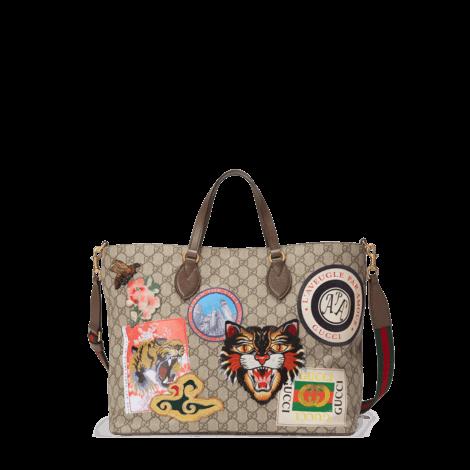 Gucci Courrier 系列柔软高级人造帆布购物袋
