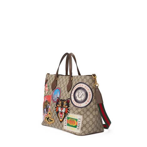 Gucci Courrier系列柔软GG Supreme高级人造革购物袋