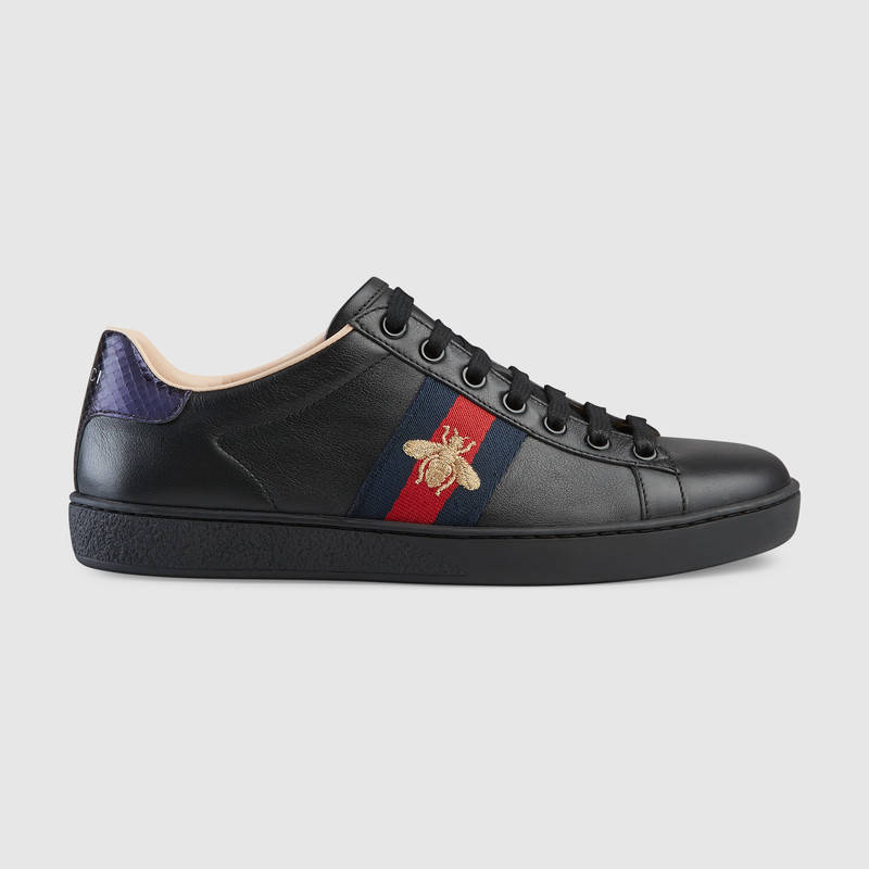 Ace Watersnake-Trimmed Embroidered Leather Sneakers in Black