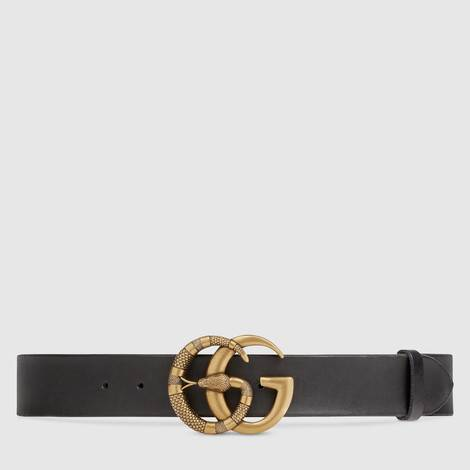 蛇形双G带扣皮革腰带