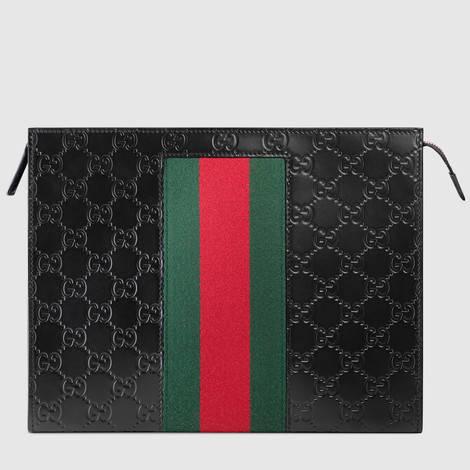 饰条纹织带Gucci Signature皮革手拿包