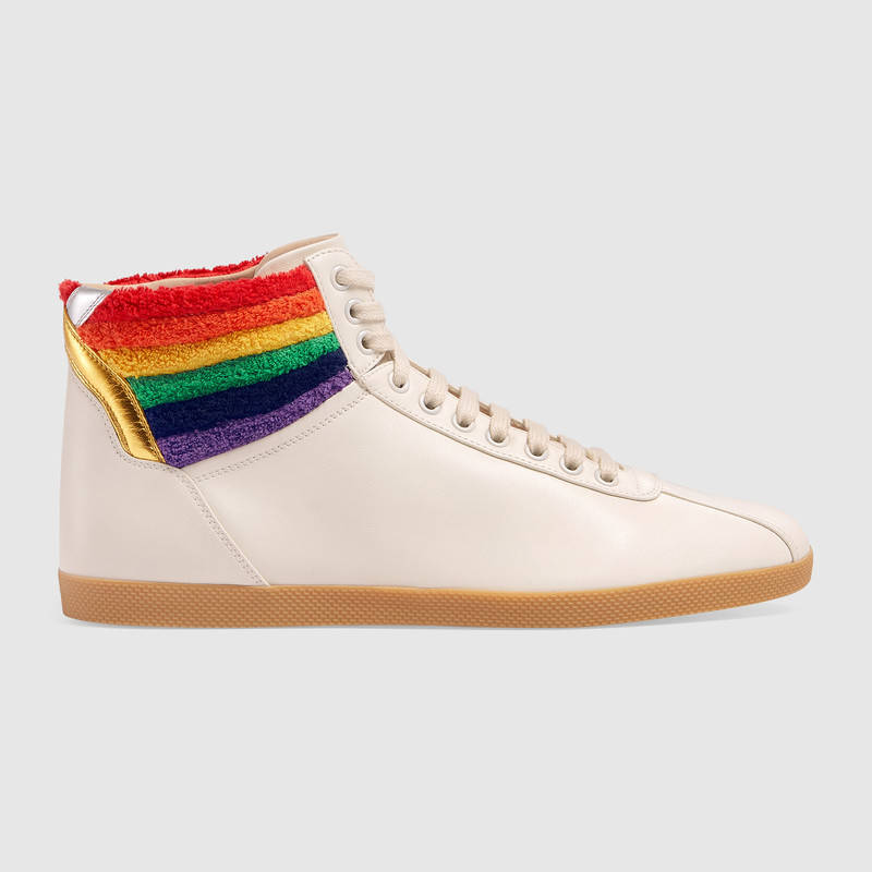 gucci high top sneaker with rainbow white leather modesens. Black Bedroom Furniture Sets. Home Design Ideas