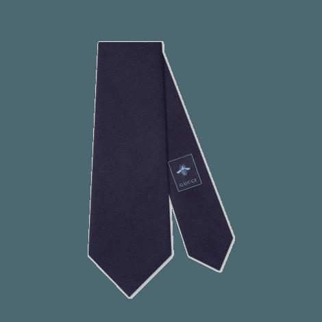 扭结下方刺绣图案羊毛真丝领带