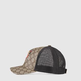 猫形印花GG Supreme高级人造革棒球帽
