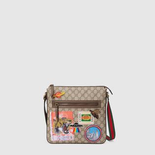 Gucci Courrier柔软GG Supreme高级人造革邮差包