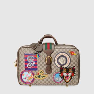 Gucci Courrier GG Supreme高级人造帆布行李箱