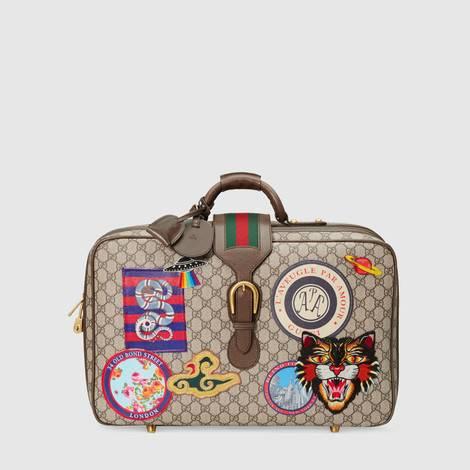 Gucci Courrier 系列高级人造帆布行李箱