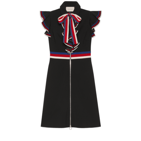 Sylvie系列饰条纹织带连衣裙