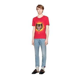 气场猫贴花纯棉T恤