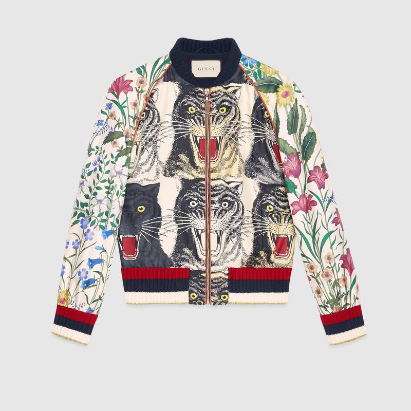 c4ccd343d Gucci AppliquÉD Printed Silk-Twill Bomber Jacket In Red | ModeSens