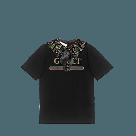 Gucci标识印花超大造型带领T恤