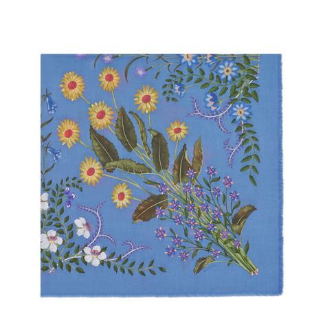 花卉印花羊毛真丝披肩