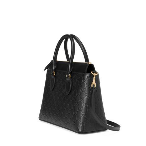 Gucci Signature柔软皮革手提购物袋