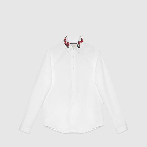 珊瑚蛇刺绣纯棉杜克衬衫