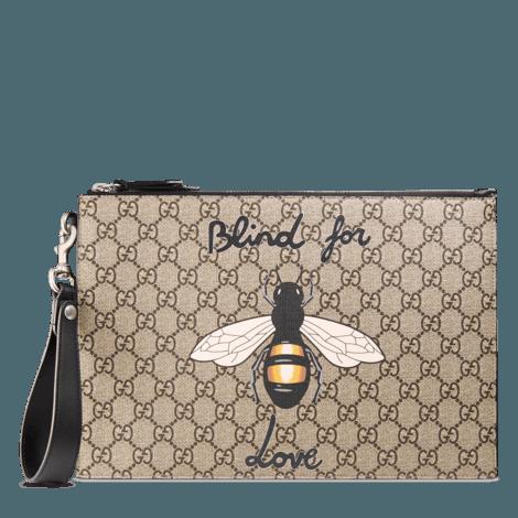 蜜蜂印花高级人造帆布手拿包