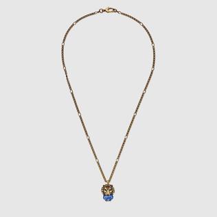 水晶狮头项链
