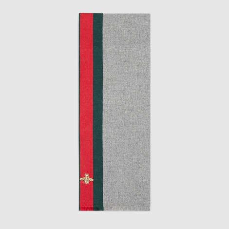 饰条纹织带羊毛羊绒混纺围巾