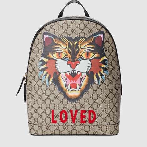 """印有""""气场猫""""印花的GG Supreme高级人造革背包"""