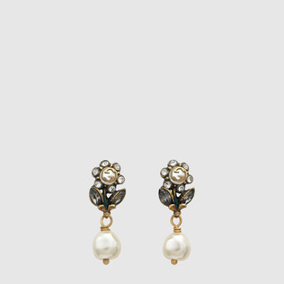 水晶和珍珠Daisy耳环