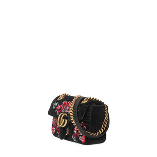 GG Marmont刺绣天鹅绒迷你手袋