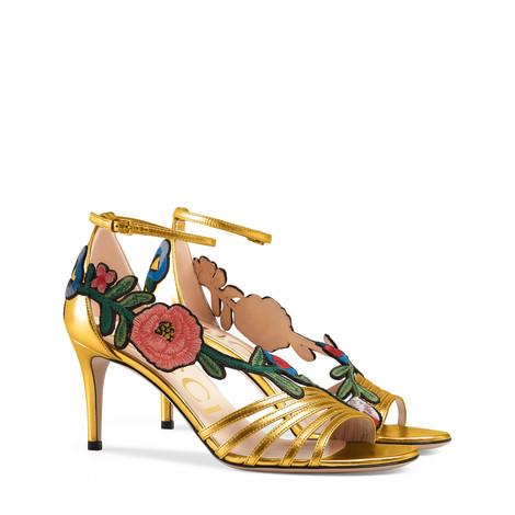 刺绣金属质感金色凉鞋
