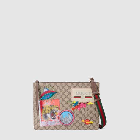 Gucci Courrier GG Supreme高级人造帆布邮差包