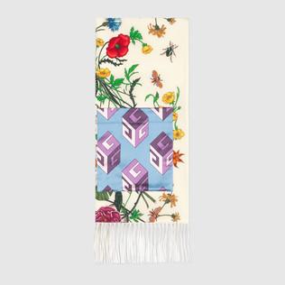 花卉蛇形印花带袋真丝围巾