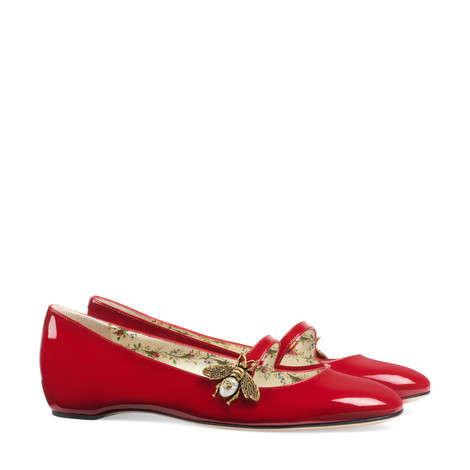 蜜蜂装饰漆皮芭蕾舞鞋