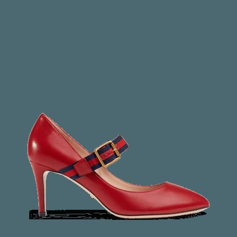 Sylvie 系列皮革中跟浅口鞋