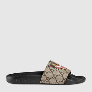 GG Supreme高级人造帆布猫形印花拖鞋