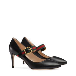 Sylvie皮革中跟浅口鞋